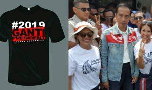 Lagi Viral Ne Om Tante, Baju #2019GantiPresiden dan juga Jaket Presiden Jokowi