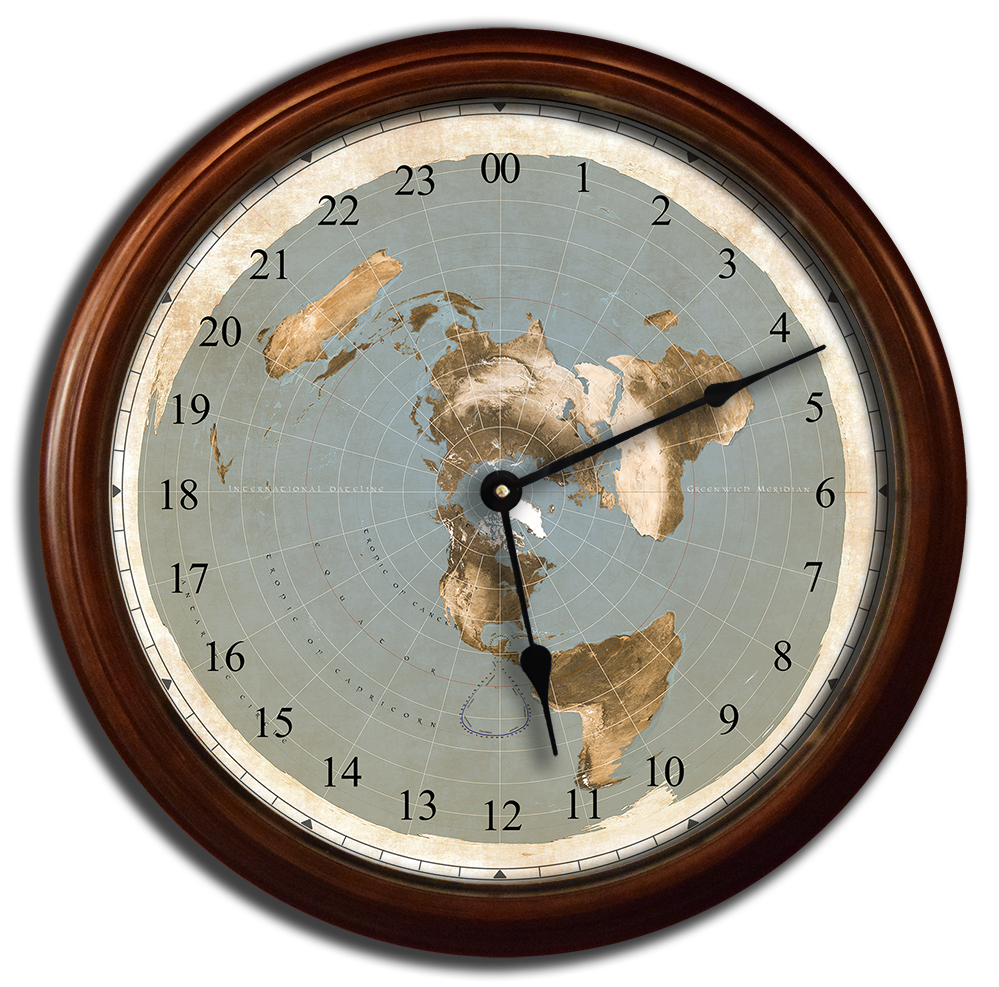Flat Earth Map - Clock 24 Hour in the World