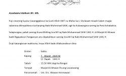 Contoh Format Surat Undangan Acara Memperingati Isra Mi'raj Nabi Muhammad SAW (Bahasa Sunda)